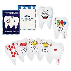tooth shaped playing cards with logo