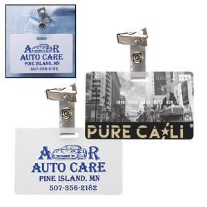 Horizontal Plastic Id Card W/ Badge Clip