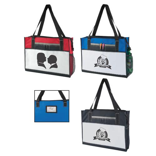 600 D Polyester Tote Bag W/Zipper