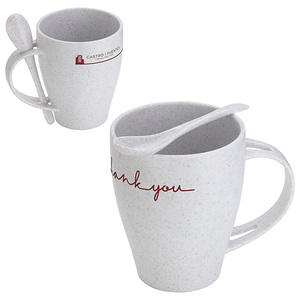 12 Oz Bamboo/Polypropylene Mug With Spoon