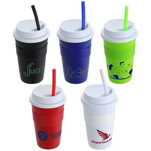 14 Oz Coffee Cup With Silicone Sleeve + Straw