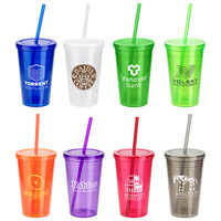 16 Oz  Tumbler With Lid + Straw