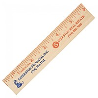 "6"" Natural Finish Flat Wood Ruler"