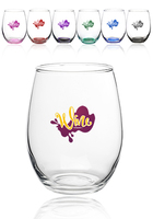 15 Oz. Arc Perfection Stemless Wine Glasses With Colored Bottom