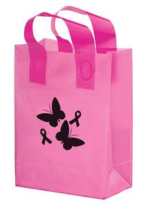 """Pink Awareness Color Frosted Soft Loop Shopper Bag (8"""" W X 4"""")"""