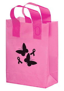 """Pink Awareness Color Frosted Soft Loop Shopper Bag (10"""" W X 5"""")"""