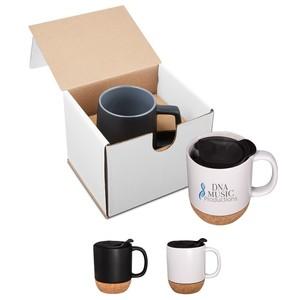 14 Oz. Ceramic Mug With Cork Base In Individual Mailer