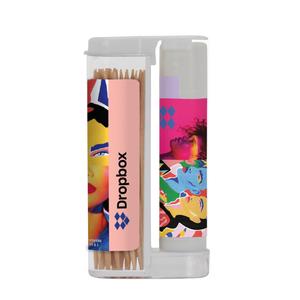 Wooden Toothpicks In A Rectangular Flip Top Duo W/ Spf 15 Lip Balm