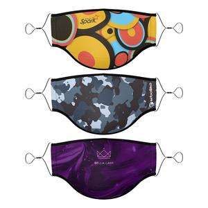 Titan Import 3 Ply Dye Sub Adult Face Mask W/ Adjustable Elastic Straps