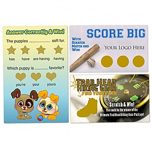 "Custom Scratch N Win Cards 2"" X 3.5"""