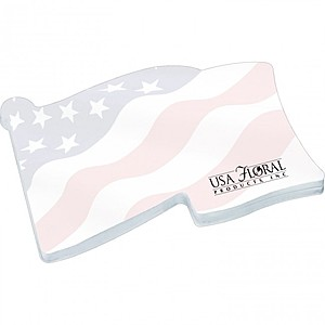 "4"" X 3"" Die Cut Adhesive Notepad   Flag"
