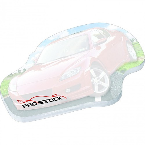 "4"" X 3"" Die Cut Adhesive Notepad   Racecar"