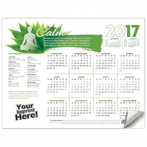 Photo of Adhesive Wall Calendar   2017 Keep Calm (Stress)