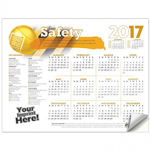 Photo of Adhesive Wall Calendar   2017 Safety First (Safety)