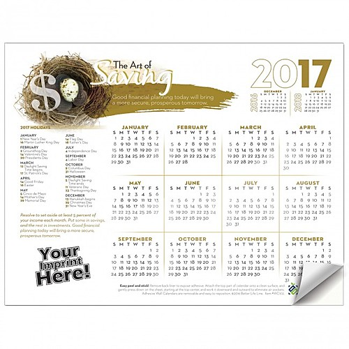Photo of Adhesive Wall Calendar   2017 The Art Of Saving (Financial)