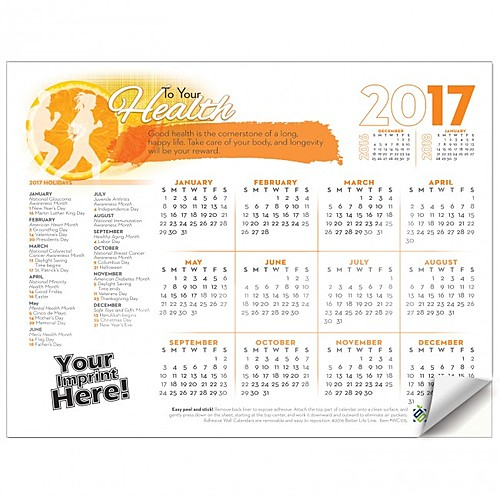 Photo of Adhesive Wall Calendar   2017 To Your Health (Wellness)