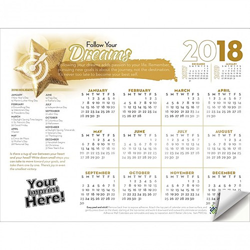 Photo of Adhesive Wall Calendar   2018 Follow Your Dreams (Motivational)