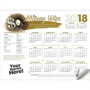 Adhesive Wall Calendar   2018 Be Money Wise (Financial)