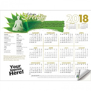 Adhesive Wall Calendar   2018 Cultivate Serenity (Stress Awareness)