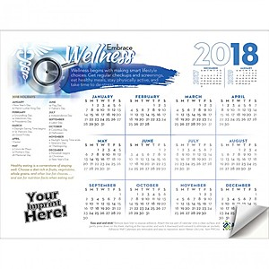 Adhesive Wall Calendar   2018 Embrace Wellness (Medical)