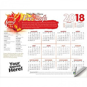 Adhesive Wall Calendar   2018 Make Your Home Fire Safe (Fire Safety)