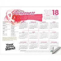 Adhesive Wall Calendar   2018 Practice Awareness (Breast Cancer Awareness)