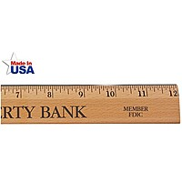 "12"" Executive Office Ruler, Lacquer Finish With Metal Edge   English Scale"