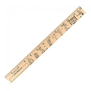 "Kids Playing Sports ""U"" Color Rulers   Natural Wood Finish"