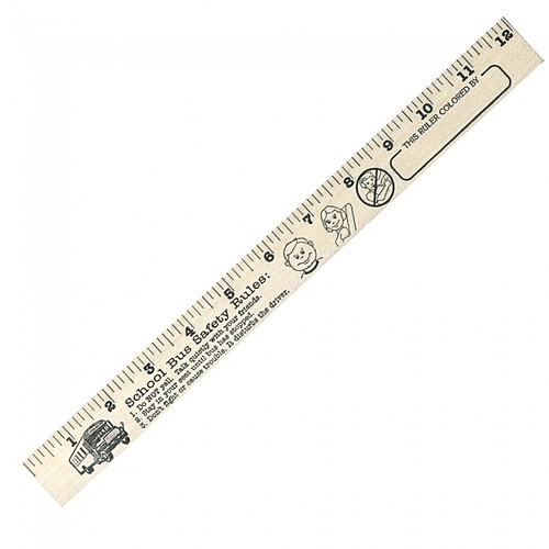 """School Bus Safety """"U"""" Color Rulers   Natural Wood Finish"""