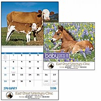 Baby Farm Animals Spiral Calendar