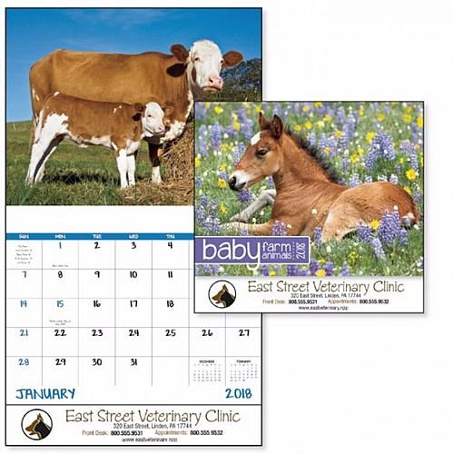 Baby Farm Animals Stapled Calendar