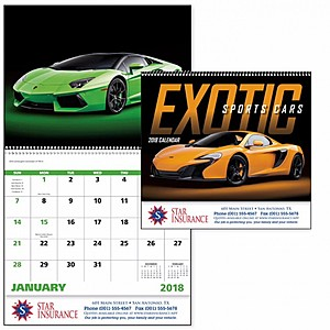 Exotic Sports Cars Spiral Calendar