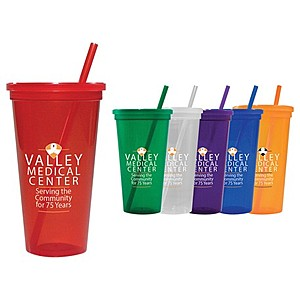 24 Oz. Jewel Tumbler W/ Lid & Straw