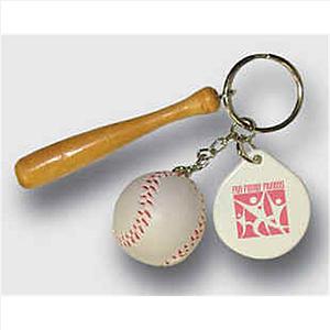 Bat And Baseball Keychain