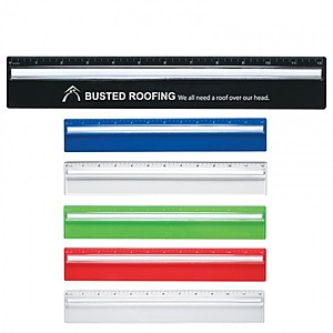"""Plastic 12"""" Ruler With Magnifying Glass"""