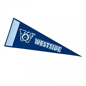 "4 "" X 10"" White Felt Pennant With Printed Strip"
