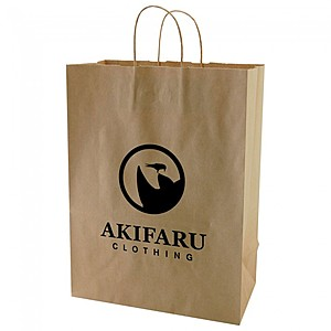 "50% Recycled Natural Kraft Shopping Bags   13"" X 17.5"""