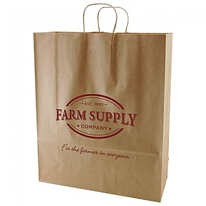 "50% Recycled Natural Kraft Shopping Bags   16"" X 19.25"""