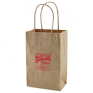 "50% Recycled Natural Kraft Shopping Bags   5.25"" X 8.5"""