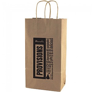 "50% Recycled Natural Kraft Shopping Bags   6.5"" X 12.375"""