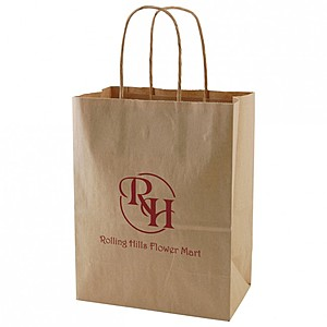 "50% Recycled Natural Kraft Shopping Bags   8"" X 10.5"""