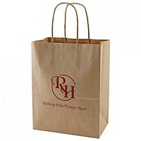 "50% Recycled Natural Kraft Shopping Bags   8"" X 10.5"""
