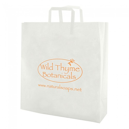 """Clear Frosted Tri Fold Handle Shopping Bags   10"""" X 13"""""""