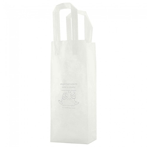 "Clear Frosted Tri Fold Handle Shopping Bags   5.25"" X 13"""