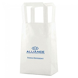 "Clear Frosted Tri Fold Handle Shopping Bags   5"" X 7.5"""