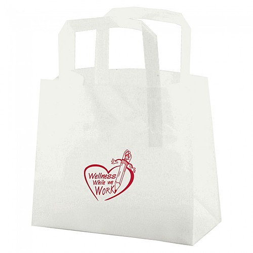 """Clear Frosted Tri Fold Handle Shopping Bags   8"""" X 7"""""""