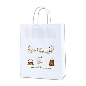 "White Kraft Shopping Bags   10"" X 12.5"""