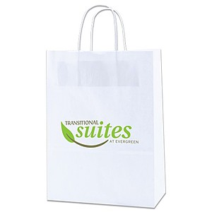 "White Kraft Shopping Bags   10"" X 13.5"""