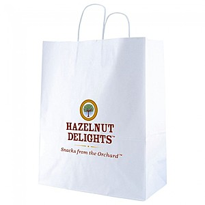 "White Kraft Shopping Bags   13"" X 15.75"""