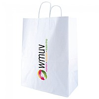 "White Kraft Shopping Bags   13"" X 17.5"""